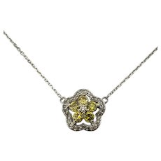 Vintage 14 Karat Yellow and White Gold and Diamond Pendant Necklace GAI Certified