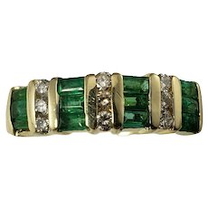 Vintage 14 Karat Yellow Gold Emerald and Diamond Ring Size 8