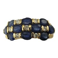 Vintage 14 Karat Yellow Gold Sapphire and Diamond Ring Size 6
