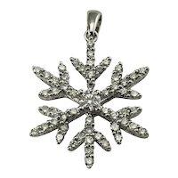 Vintage 14 Karat White Gold Diamond Snowflake Pendant