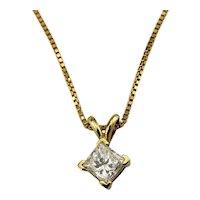 Vintage 18 Karat Yellow Gold Princess Cut Diamond Pendant Necklace