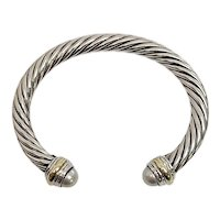 David Yurman Sterling Silver 14K Yellow Gold Accent Cable Classics Cuff Bracelet 7mm
