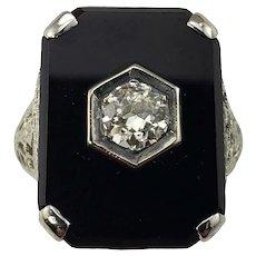 Vintage 14 Karat White Gold Onyx and Diamond Ring Size 3.5