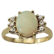 Vintage 14 Karat Yellow Gold Opal and Diamond Ring Size 7.5