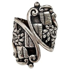 Vintage Alfredo Villasana Mexico Sterling Silver Pictoral Clamper Bracelet