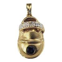 Vintage 14 Karat Yellow Gold Sapphire and Diamond Baby Shoe Charm