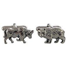 Tiffany & Co Sterling Silver Bull and Bear Cufflinks