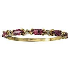 Vintage 14 Karat Yellow Gold Ruby and Diamond Ring Size 8.75