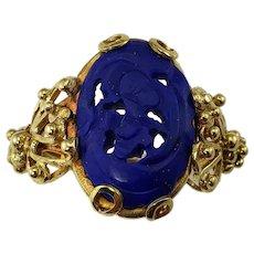 Vintage 18 Karat Yellow Gold Carved Lapis Lazuli Ring Size 6.5