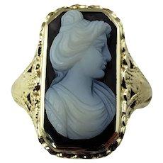 Vintage 14 Karat White Gold Onyx Cameo Ring Size 6