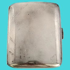 Horace Woodward England Sterling Silver Curved Cigarette Case with Engraving