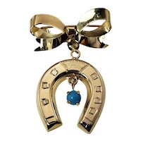 Vintage 14 Karat Yellow Gold and Turquoise Horseshoe Brooch/Pin