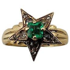 Antique 14 Karat Yellow Gold Emerald and Diamond Ring Size 5.5