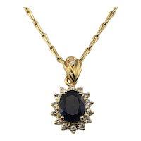 Vintage 18 Karat Yellow Gold Sapphire and Diamond Pendant Necklace