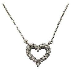 Vintage 14 Karat Yellow Gold Diamond Heart Necklace