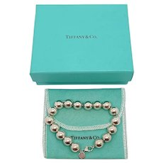 Tiffany & Co Sterling Silver 10mm Ball Bracelet with Pouch and Box