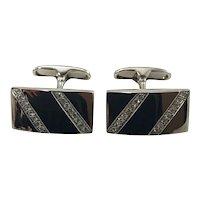 Vintage 18 Karat White Gold and Diamond Cufflinks