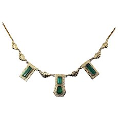 Vintage 18 Karat Yellow Gold and Emerald Necklace