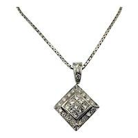Vintage 18 Karat White Gold and Diamond Pendant Necklace