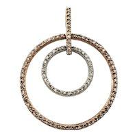 Vintage 14 Karat Rose and White Gold Diamond Circle Pendant