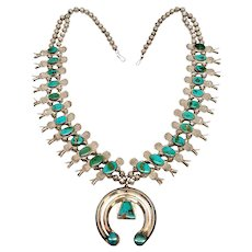 Native American Sterling Silver Turquoise Box Bow Squash Blossom Necklace
