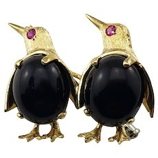 Vintage 18 Karat Yellow Gold and Onyx Penguin Brooch/Pin