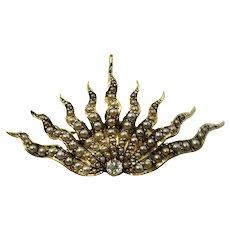Antique 14 Karat Yellow Gold Pearl and Diamond Brooch/Pendant