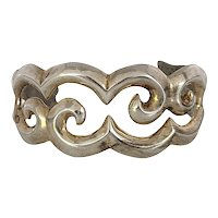 Native American Signed ITC Sterling Silver Sand Cast Cuff Bracelet