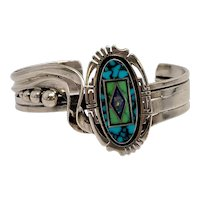 Native American Jerry T Nelson Sterling Silver Multi-Stone Inlay Cuff Bracelet