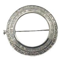 Vintage 18 Karat White Gold and Diamond Circle Brooch/Pin