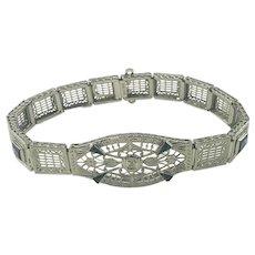 Vintage 14 Karat White Gold Filigree Diamond and Simulated Sapphire Bracelet