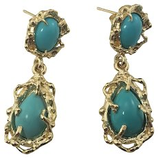 Vintage 14 Karat Yellow Gold and Turquoise Dangle Earrings