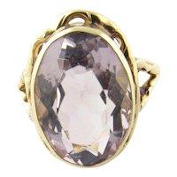 Vintage 14 Karat Yellow Gold Amethyst Ring Size 7.25