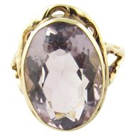 Vintage 14 Karat Yellow Gold Amethyst Ring Size 7.25