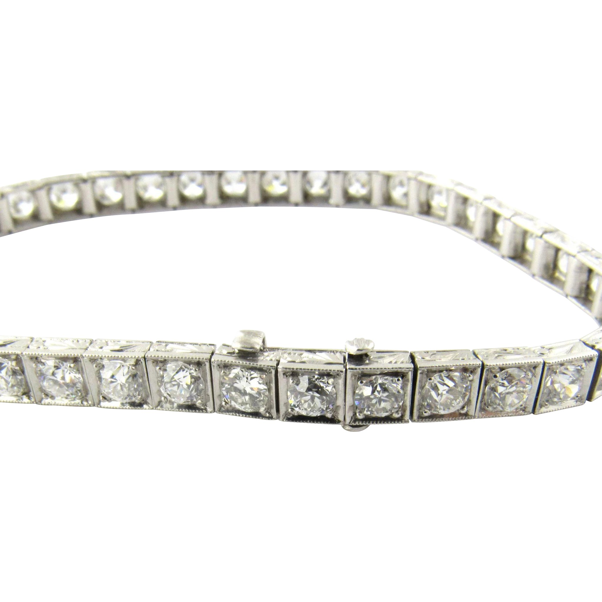 d96f96d4c81 Vintage Platinum European Cut Diamond Tennis Bracelet 6 carats   Gold and  Silver Brokers