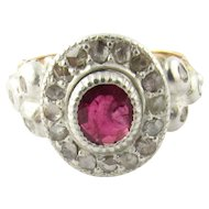 Antique Georgian 10K Yellow Gold Rose Cut Diamond and Ruby Floral Ring Size 6.5