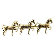 Vintage 14 Karat Yellow Gold Three Horse Charm