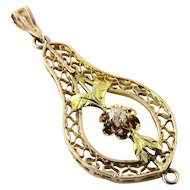 Vintage 14K Yellow Gold Diamond Filagree Pendant