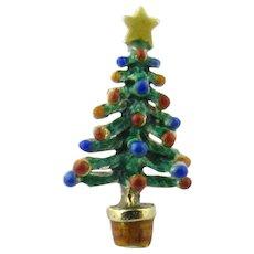 Vintage 14 Karat Yellow Gold Enamel Christmas Tree Tie Tack - Red Tag Sale Item