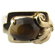 Vintage 14 Karat Yellow Gold Tiger's Eye Ring Size 3.75