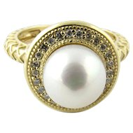 Vintage 14 Karat Yellow Gold Cultured Pearl and Diamond Ring Size 5.75