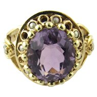 Vintage 14 Karat Yellow Gold Amethyst and Pearl Ring Size 5.75
