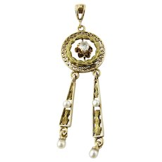 Antique Victorian 10K Yellow Gold Seed Pearl and Diamond Pendant