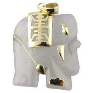 Vintage 14K Yellow Gold Lavender Jade Elephant Pendant