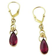 Vintage 10K Yellow Gold Synthetic Red Ruby Drop Dangle Tear Drop Earrings Pierced
