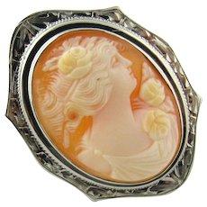 Vintage 10K White Gold Cameo Pin
