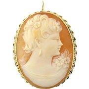 Vintage 14K Yellow Gold Cameo Pin/Pendant