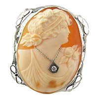 Vintage Girl Cameo with Diamond Necklace 14K White Gold Pin Pendant