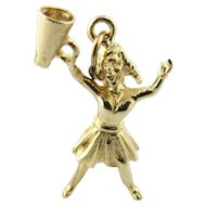 Vintage 14 Karat Yellow Gold Cheerleader Charm