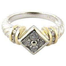 Vintage 14 Karat White and Yellow Gold Diamond Ring